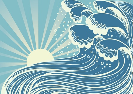 Storm in blue sea.Vector big waves in sun day Vector