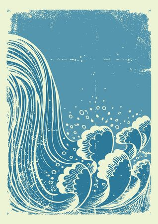 waterfall: Waterfall.Vector grunge blue water waves  on old paper background