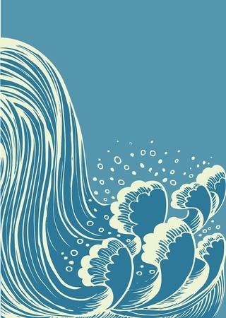 waterfall: Waterfall.Vector blue water waves background Illustration