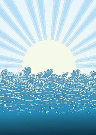 rippled: Onde di mare in un giorno di sole. Illustrazione vettoriale del paesaggio naturale Vettoriali