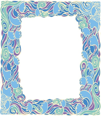 water pictures: Frame with abstract wave decoration.Vector  background