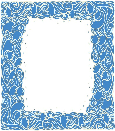Marine waves frame decotation.Vector blue graphic background  Vector