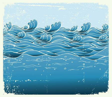 dirty water:  Blue waves.Vector grunge image of Sea background