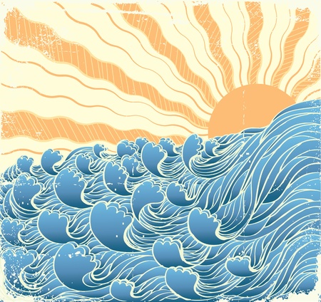 waves vector: Abstract sea waves. Vector illustration of sea landscapewith sun