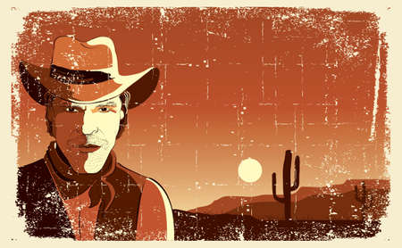 Portrait of cowboy man. Vector