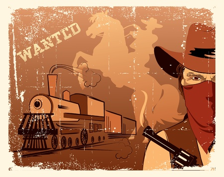 bandit: cowboy and locomotive. Western grunge poster