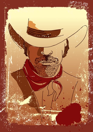 Stronge man in cowboy hat .Grunge westrn poster Stock Vector - 9197188