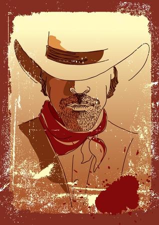 one man only: Stronge man in cowboy hat .Grunge westrn poster