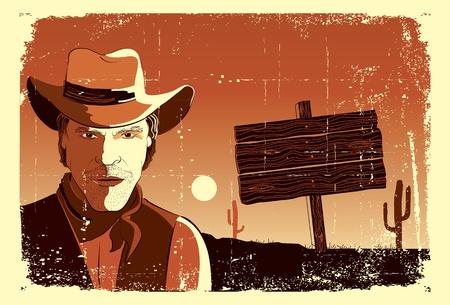paper hats: Portrait of cowboy man.