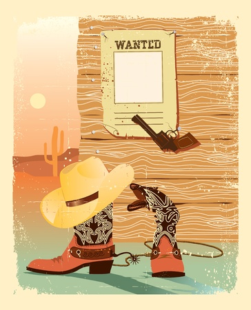 viejo oeste: Vida de oeste de vaquero. Zapatos especiales y pistola de cowboy.Cartel occidental grunge