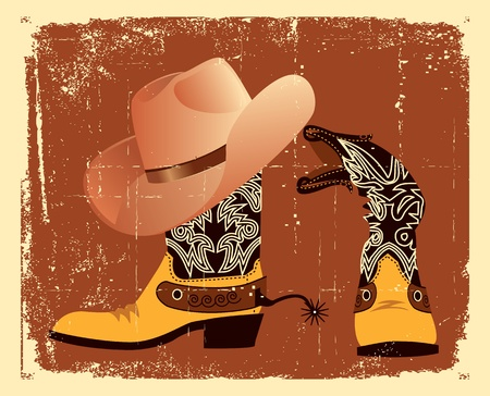 brown leather hat: shoes and hat for cowboy .Grunge image