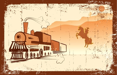 cowboy and locomotive. Western bandit life.Grunge Vector