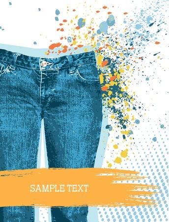 jeansstoff: Denim Hintergrund f�r Design mit Grunge Elemente f�r Text auf wei�.Jeans