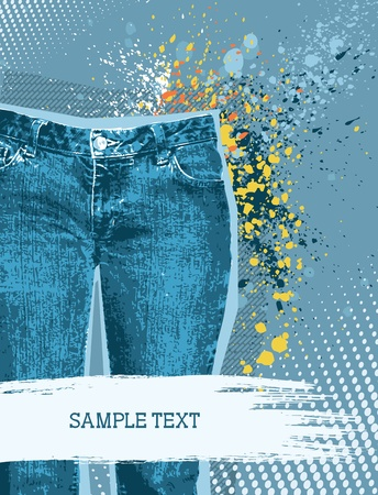 blue jeans: Denim background for design with grunge elements for text.Jeans Illustration