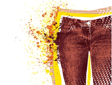 woman's clothing: Jeans background.Vector grunge denim on white for text