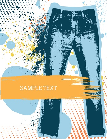 blue jeans: Denim background for design with grunge elements.Jeans Illustration