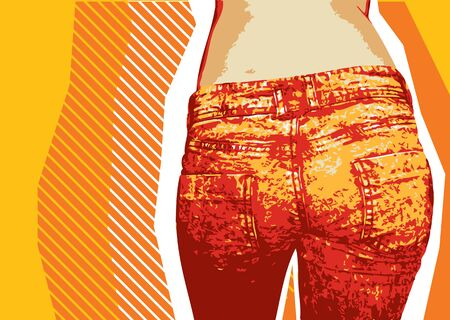 dirty clothes: Denim background for design with grunge elements for text.Jeans Illustration