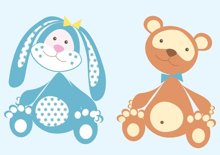 bear doll: Rabbit and bear .Vector cartoons toys Illustration