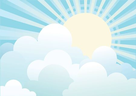 Sun and blue sky with beautifull clouds.Vector image Stock Vector - 9264830