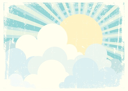 Sun and blue sky with beautifull clouds. Vintage vector image Stock Vector - 9264833