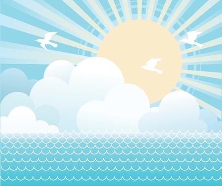 daybreak: Agua de mar y el sol con bellos nubes.Imagen vectorial Vectores