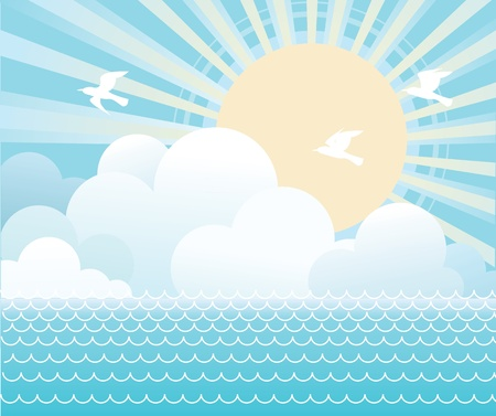 water birds: Sun and sea water  with beautifull clouds.Vector image Illustration