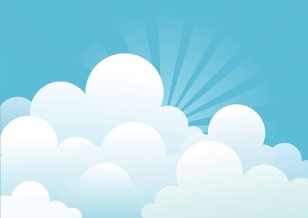 Image of sky: Blue sky with beautifull clouds.Vector image