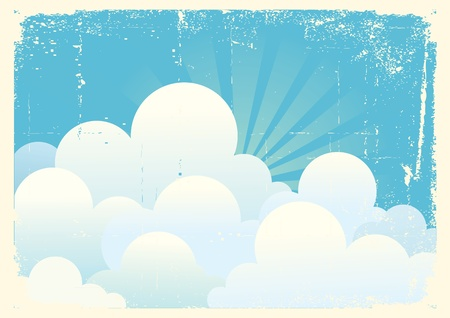 Blue sky with beautifull clouds.Vintage vector image Stock Vector - 9278761