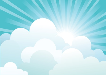 Sun and blue sky with beautifull clouds.Vector image Illustration