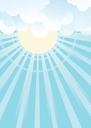 beautifull: Sun and blue sky with beautifull clouds.Vector image Illustration