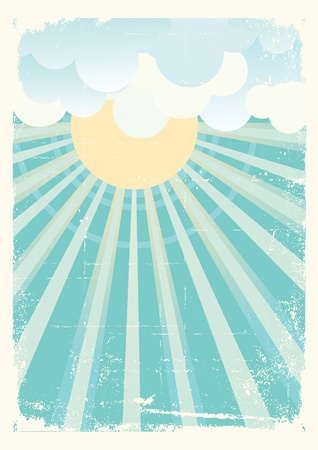 retro sunrise: Sun and blue sky with beautifull clouds.Vector vintage image Illustration