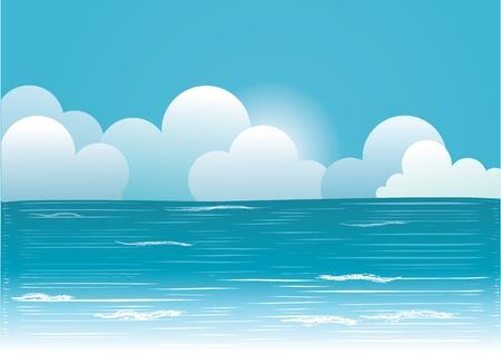 Sun und blauer Himmel mit Wolken Beautifull.Vektor-Bild