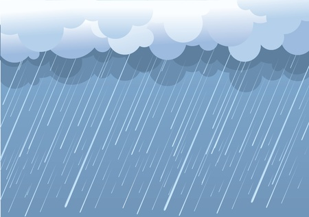 Rain.Vector image with dark clouds in wet day Vector