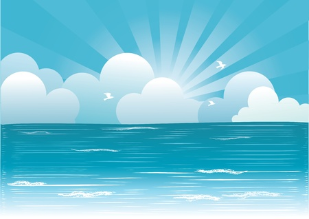Image of sky: Sun and blue sky with beautifull clouds.Vector image Hình minh hoạ