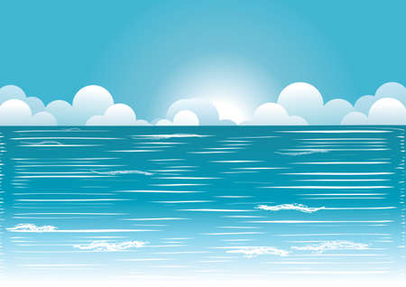 Sun and blue sky with beautifull clouds.Vector image Stock Vector - 9278767