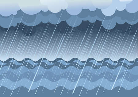 Rain in sea.Vector water landscape Vector