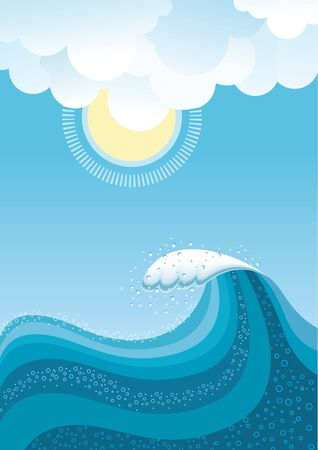 Wave in ocean.Water background with sun.Mesh Vector