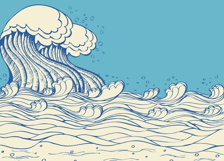stream  wave: Sea waves. Vector illustration of symbol of nature  on white