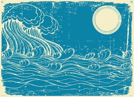 tide: Olas del mar enorme. Ilustraci�n de grunge de vector de la naturaleza