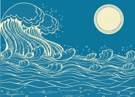 Huge sea waves. Vector illustration of symbol of nature