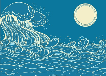 tidal: Huge sea waves. Vector illustration of symbol of nature