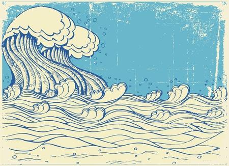 rippled: Grande onda nel mare.Illustrazione del grunge vettoriale  Vettoriali