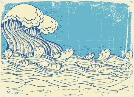 Huge wave in sea.Vector grunge illustration Stock Vector - 9302133