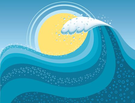 Wave in ocean.Water background with sun.Mesh Vector