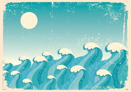 Blue waves.Vector vintage image of Sea background on old paper Stock Vector - 9302138