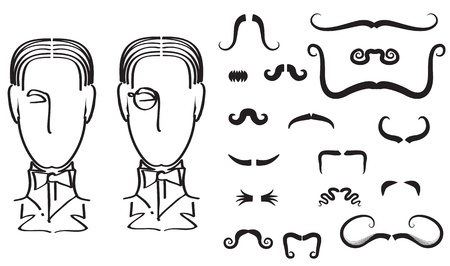 style goatee: Mustaches for man.Vector collection on white for design Illustration