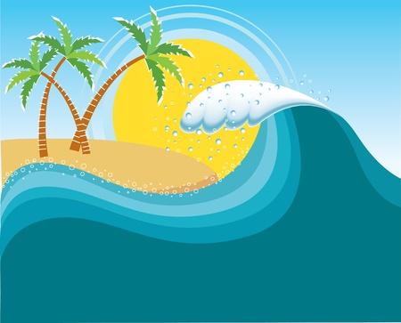 granola: Gran ola cerca de la isla del sol tropical Vectores