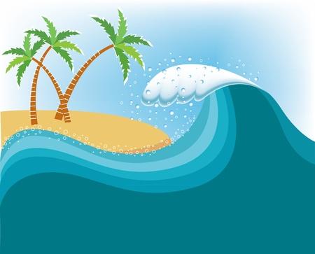 granola: Gran ola cerca de la isla tropical