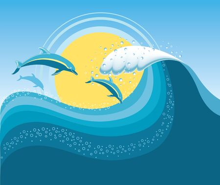 Dolphins in blue sea wave Stock Vector - 9347947