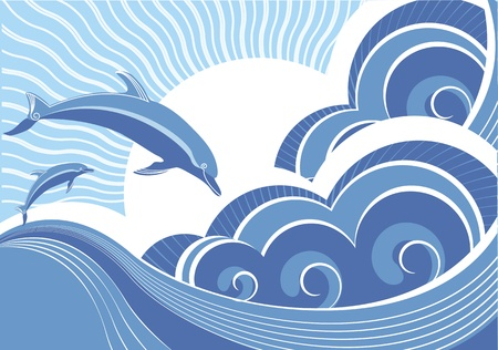 blue dolphins jumping in sea Vector